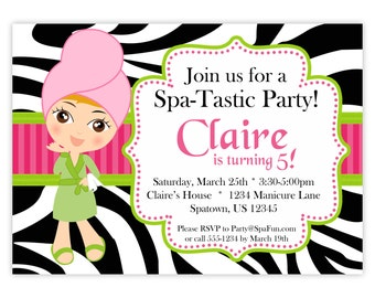 Spa Party Invitation - Lime, Hot Pink and Zebra Print, Cute Little Spa Girl Personalized Birthday Party Invite - a Digital Printable File