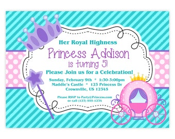 Princess Invitation - Teal Turquoise, Purple, Pink Polka Dots, Princess Crown Personalized Birthday Party Invite - a Digital Printable File