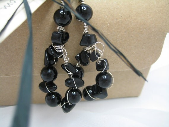 Black Onyx Dangle Earrings, Black Onyx Hoop Earrings, Onyx Black Beadwork Gemstone Earrings, Handmade in U.K. Designer Jewellery, Gift Box