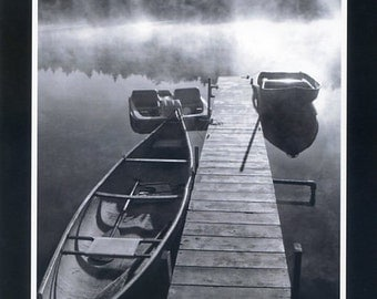 Boat dock in black and white - Photo card