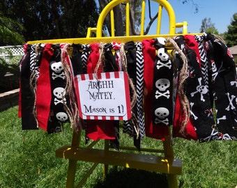 Pirate Theme Birthday/ highchair banner/ photo prop