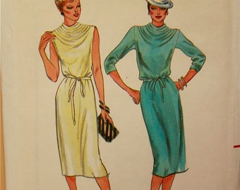 Dress with Cowl Neckline - Vintage 1970's - Butterick Pattern 6904  Uncut  Size 10  Bust 32.5 ""