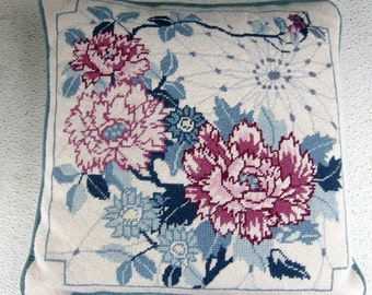 Hand Crafted Floral Needlepoint Pillow