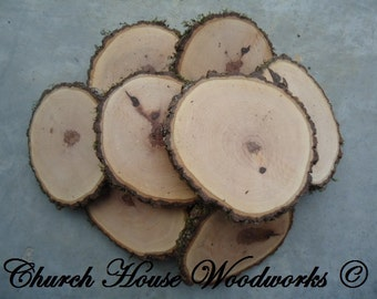 """10 qty  4"""" wood slices, rustic coasters, tree coasters, decoration,  rustic weddings, rustic wedding coasters"""""""