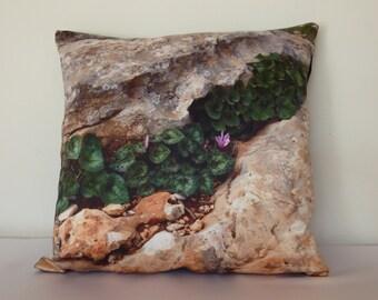 Rakefet,  Decorative pillow cover, cyclamen photo, 16 X 16