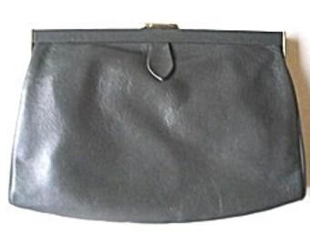 Gray Leather Clutch Bag or Shoulder Bag Detachable Strap