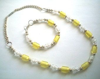 Necklace & Bracelet Set Lemon Yellow and White Glass Beads
