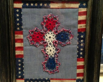Patriotic Red, White, and Blue crocheted cross, matted and framed