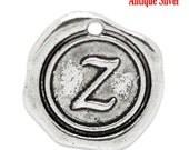 6 pcs. Letter Z charm. Wax Seal Monogram Charm. Letter Z pendant. Letter Z monogram charm. charm bracelet charm. Alex and Ani Inspired charm