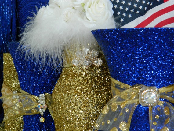 Wedding Decorations Royal Blue Gold : Wedding Decorations Gold Centerpieces  Military