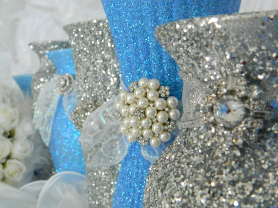 Items similar to wedding centerpiece wedding decorations for Baby blue wedding decoration ideas
