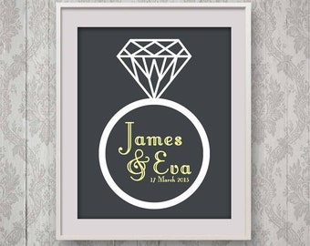 Engagement Ring Print, Personalised Engagement Date, Blue Yellow, Geometric Ring, 8x10, Anniversary Gift, Wedding Gift, Bridal Shower gift