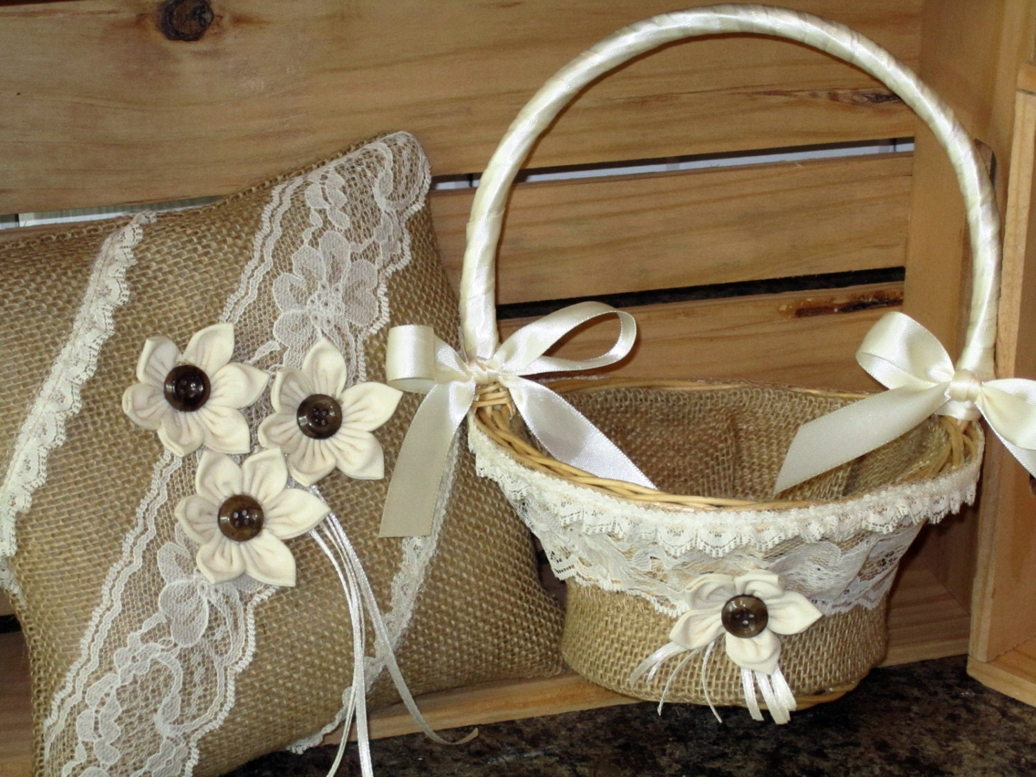 Flower Girl Baskets Burlap : Burlap ring bearer pillow flower girl basket with ivory lace
