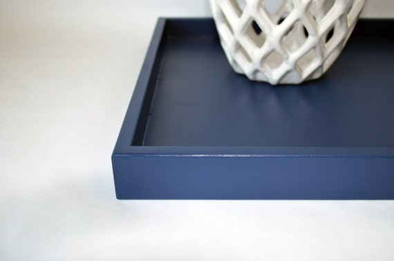 Navy blue 14 x 18 shallow wood decorative tray home decor for Shallow coffee table