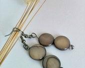 Flat Brown Bead Dangle Earrings Handmade