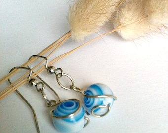 Blue and White Spiral Swirl Earrings, Wire Wrapped Earrings Handmade, Dangle Earrings