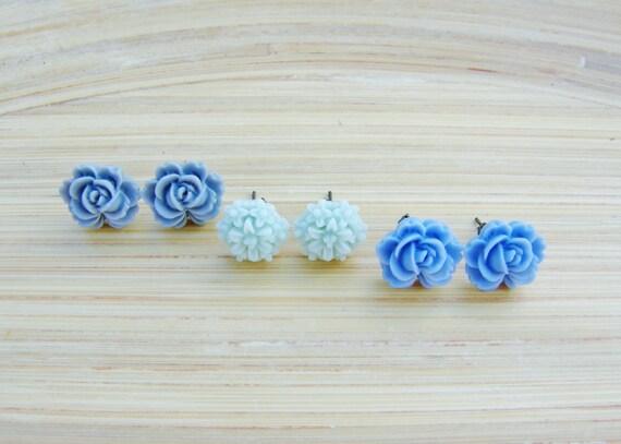 Flower Post Earring Set Light Blue Cornflower Blue-Gray Gift Set Under 15