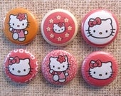 Interchangeable Magnetic Buttons or Pin Back Buttons - Hello Kitty