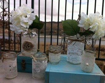 LACE WEDDING DECOR. 12 Vintage Lace Mason Jars lanterns/vases. Head Table Decor, Wedding Centerpieces Wholesale