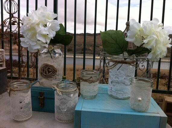 Items Similar To Lace Wedding Decor 12 Vintage Lace Mason