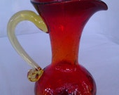 Vintage Handblown Pilgrim Company Ruby Red Crackle Glass Pitcher