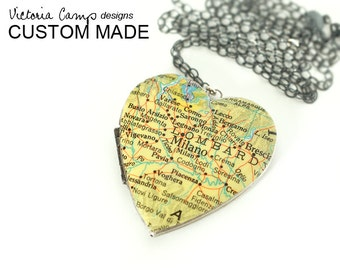 Large Silver Heart Map Locket Necklace, Custom, Personalized, Vintage Heart Locket - Sterling Silver Chain