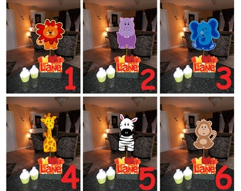 "DIY 12"" Small Safari Friends Birthday Party Centerpieces 1st Birthday Mitzvah Baby Shower Jungle Zoo Animal Centerpiece"