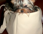 Pure Elegance Italian Beige Faux Leather and Leopard Faux Fur Dog Carrier - DataDesignBoutique