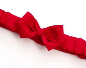 Rosso Red Ruffled Bow Headband . Baby sizes: 0-6m, 6-12m, 12m plus & Made to Measure for Preemie, Baby, Toddler, Girls, Adults