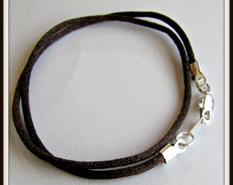 14 to 24 inch Brown Necklace Cord, Necklace Cord,  Brown Satin Cord, Brown Pendant Cord, Silver Lobster Clasp, Custom Cord Item #331