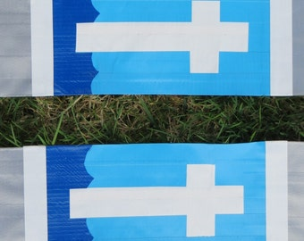 Duct Tape Clergy Stole - silver with white cross on sea and sky background-GREAT FOR CAMP
