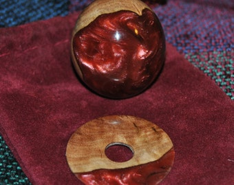 "Custom Hand Made Arcade Stick Joystick Sanwa Ball Top ""Burgundy and Burl"""