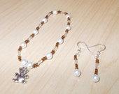 Teddy bear beaded bracelet and earring set