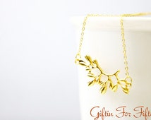 Flower Branch Necklace, Gold Plated, Diamond Cut Dainty Chain, Bridal Gift, Birthday, Wedding Gifts, Hand Stamping And Birthstones Available