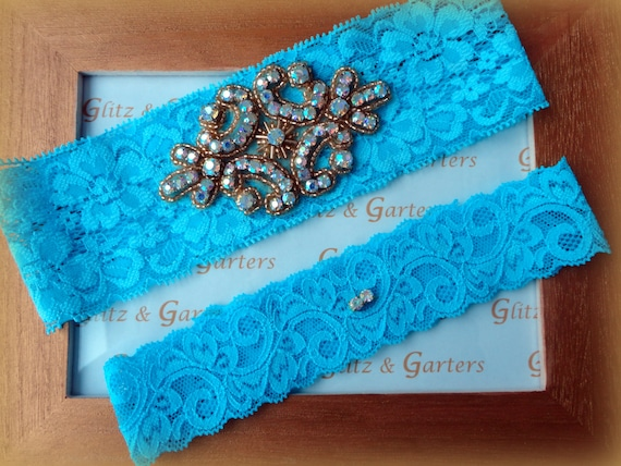 Wedding Garter Set - LIGHT BLUE Lace GOLD Rhinestone Crest Show & Dual Stud Toss - other colors available