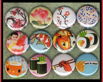 """12 Asian and Japanese Flowers, Shushi and Coy fish 1"""" inch buttons, medallions or magnets"""