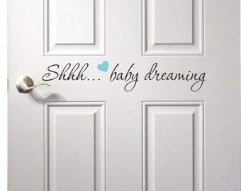 Baby Dreaming Door Decal - Nursery Room Door Decal - Baby dreaming - baby dreaming decal - door decal - baby dreaming sticker