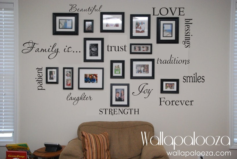 Family wall decal set of 12 family words family room wall Family pictures on living room wall