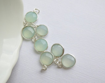 Sterling Silver Bezel Sea Green Chalcedony -- 1 Faceted Stone -- Aqua Gemstone -- Silver Framed Pendant -- Charm -- 11mm Sterling Silver