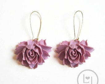 Rose Earrings-Lavender