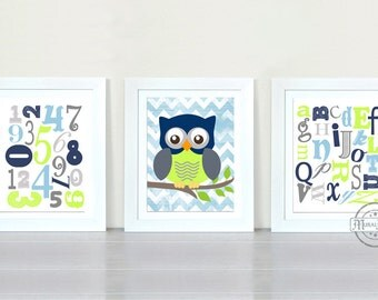 ABC NURSERY Print - Nursery decor -  Owl Nursery Room Wall Art Print - 8x10 , Owl , Alphabet, Numbers