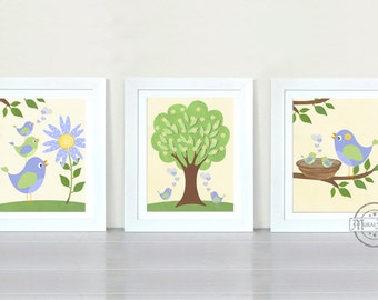 Nursery Art  - Birds Nursery art Set of 3 - 8X10  Prints - Birds -  Purple and Green Nursery Print