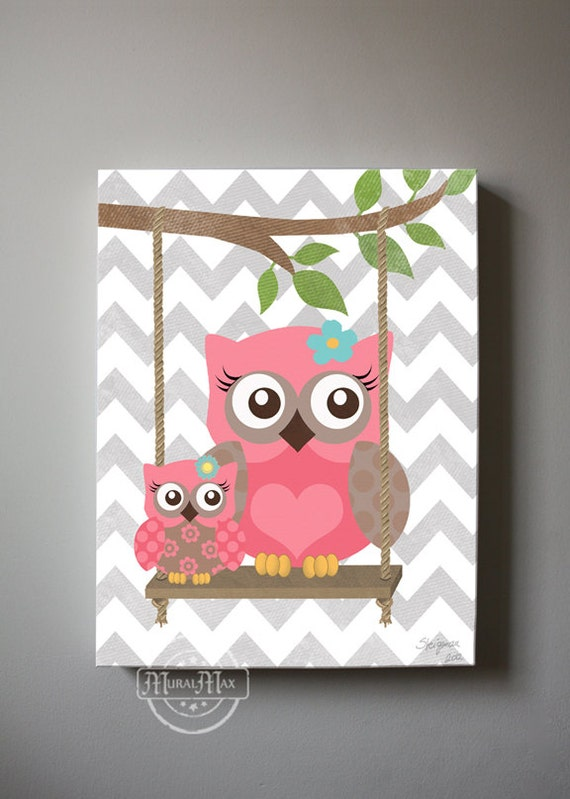 Owl Baby Bedroom Decor: Owl Decor Girls Wall Art OWL Canvas Art Baby Nursery Owl