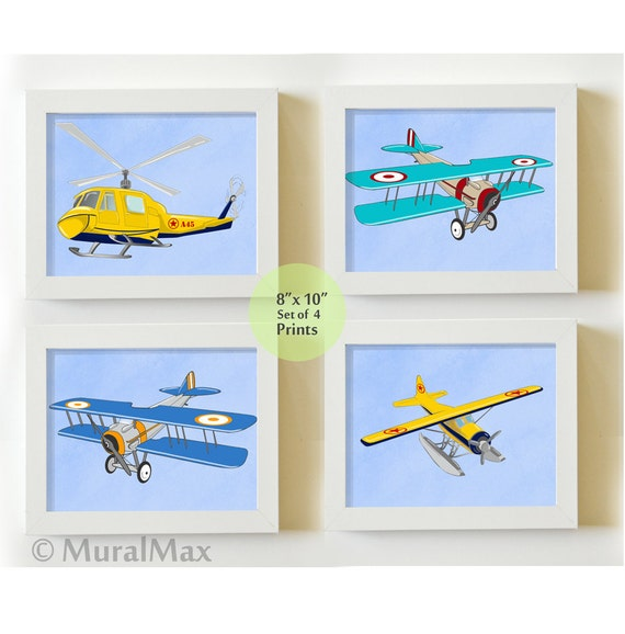 Art For Children Airplane Nursery Decor Vintage Airplane Art