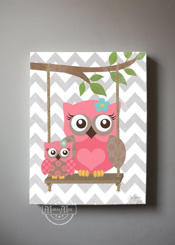 owl decor girls wall art owl canvas art baby nursery owl