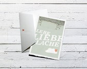 LEBE LIEBE LACHE, mould paper card with envelope, 10x15cm German