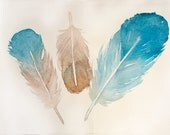 Feathers painting original. Watercolor painting of feathers. Aqua blue beige feather paint by watercolors