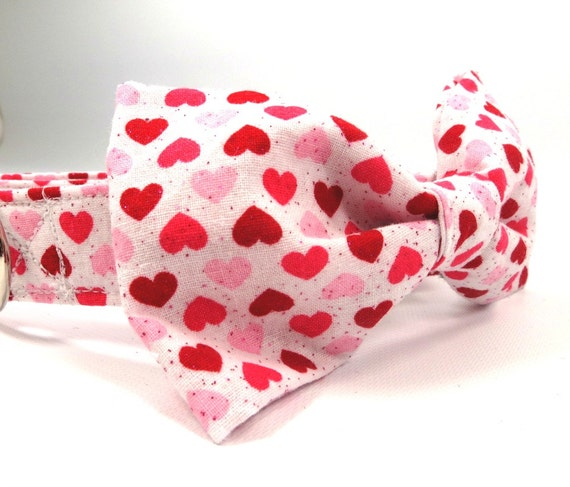 Red and Pink Heart Dog Bow Tie Dog Bow Tie Heart Dog Bowtie