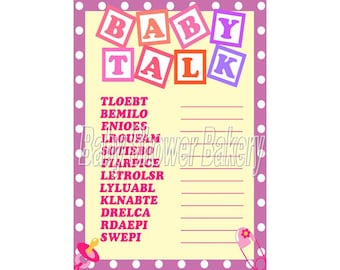 Baby Shower Game, Baby Word Scramble, Printable Baby Shower Game, Girl Baby Shower Game, Instant Download Baby Shower, Purple Baby Shower