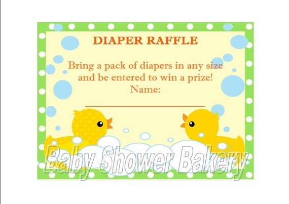 ... Shower Game, Printable Diaper Raffle Ticket, Duck Theme Baby Shower